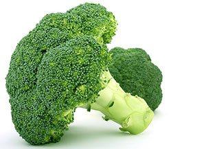 Broccolo verde vivace su sfondo bianco