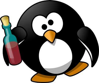 Pinguino con bottiglia